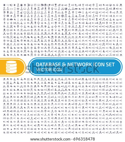 Database and network icon set,vector