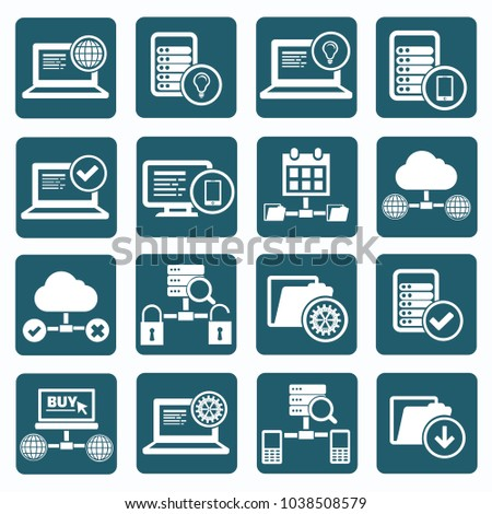 Database and network icon set vector design