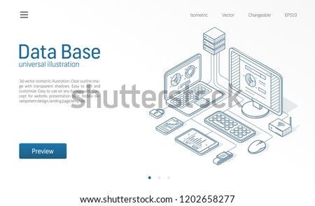 Database, big data, host server modern isometric line illustration. Datacenter, file protection center business sketch drawn icons. Abstract 3d vector background. Information storage network concept.