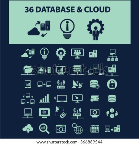 database, big data, hosting, analytics  icons, signs vector concept set for infographics, mobile, website, application