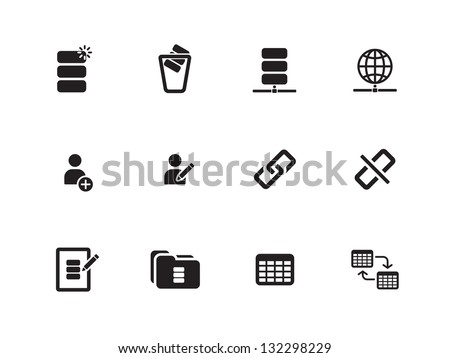 Database icons on white background. Vector illustration.