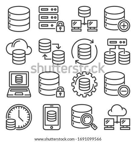 Database Icons Set on White Background. Line Style Vector Stock foto ©