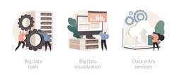 Database management abstract concept vector illustration set. Big data tools and visualization, data entry services, analytics platform, business intelligence, software development abstract metaphor.