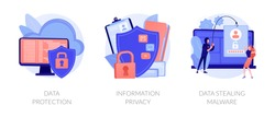 Database security software. Cyber crime, computer system hacking malware. Data protection, information privacy, data stealing metaphors. Vector isolated concept metaphor illustrations