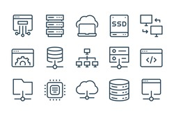 Database, Server and Cloud service line icons. Network and Technology vector linear icon set.