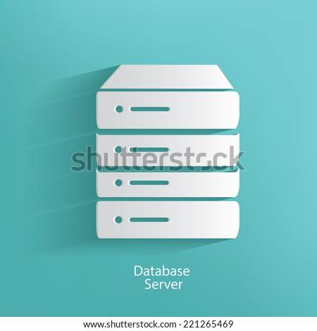database server symbol on blue