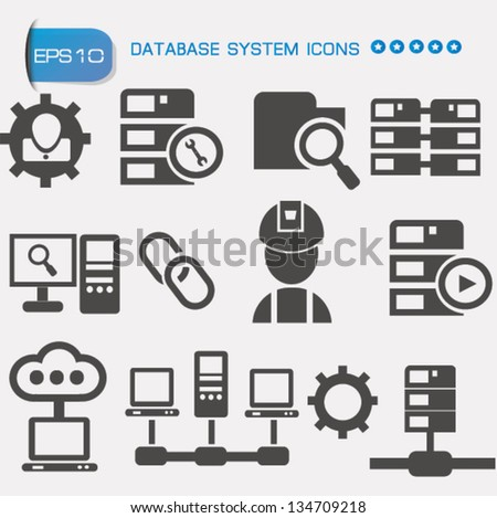 Database system icon set,vector