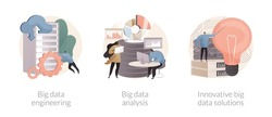 Database technology abstract concept vector illustration set. Big data engineering, automated analytics system, innovative big data solutions, business software, machine learning abstract metaphor.