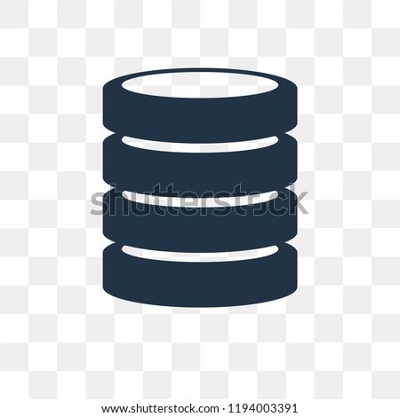 Database vector icon isolated on transparent background, Database transparency concept can be used web and mobile