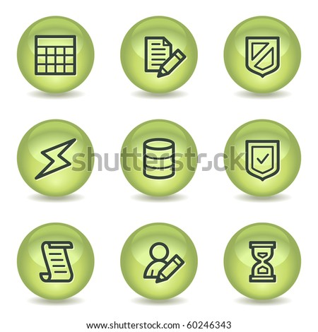 Database web icons , green glossy circle buttons