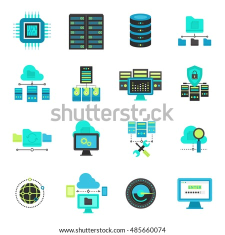 Datacenter flat icons set with hardware network cloud service server settings and security system isolated vector illustration