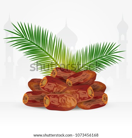 date fruits with palm leaves isolated on white background. ramadan iftar food
