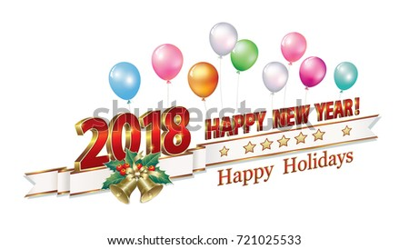 date 2018 happy new year in 3d format and with bells on the background of balloons
