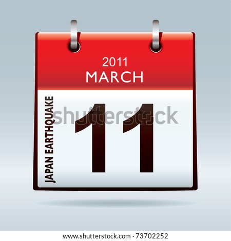 date icon. stock vector : Date icon calendar with japan earthquake and tsunami