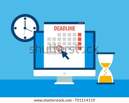 Dates and Deadlines banner. Computer with calendar, clock and hourglass. Vector flat illustration Stock photo ©