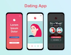 Dating app design, interface. People match social media Mockup. Dating application. Online dating, virtual love. Vector illustration