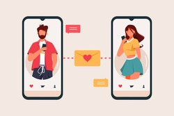 Dating app Flat Design Concept, Male and Female  Sending Message with Smartphone in Dating App Vector Illustration
