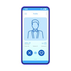 Dating app profile interface vector template. Mobile app interface blue design layout. Online dating smartphone application. Flat UI. Phone display with man's profile information