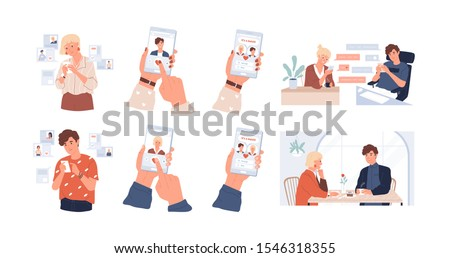 Dating app using vector illustrations set. Meeting website, acquaintance and speed date mobile application. Online correspondence, rendezvous, communication. Liking, match, couple building concept.