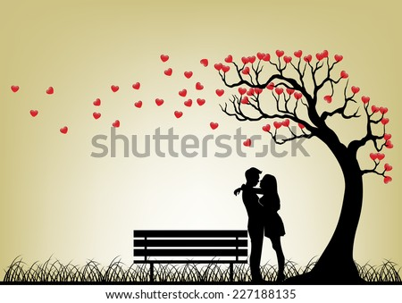 dating couple silhouette under