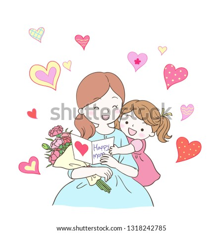 Daughter gives mother a love card and carnation flowers