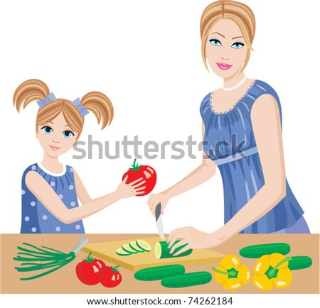 Daughter helps mum to prepare. vector, no gradient, color full
