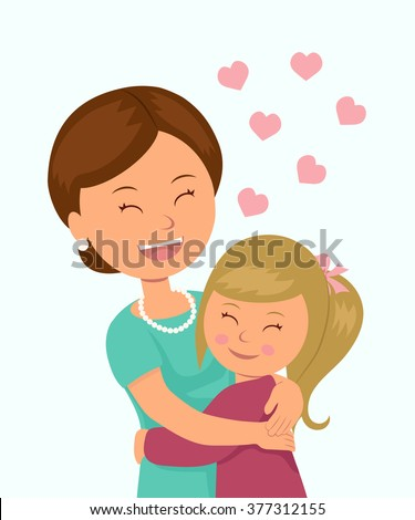 Daughter hugging her mother. Isolated characters in the embrace of a mother and her daughter on a white background.