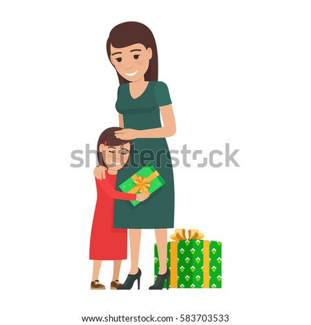 daughter hugs her mother and