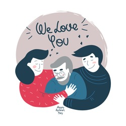 Daughter, son and elderly father. Vector illustration. Can used in greetings, cards, covers, stickers.