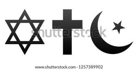 David and Christian Cross, Half Moon Muslim Icons