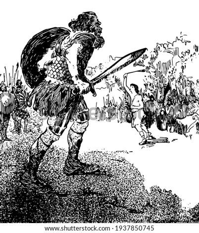 David, this scene shows an old man with shield and sword in one hand, and soldiers standing behind him, vintage line drawing or engraving illustration Foto stock ©