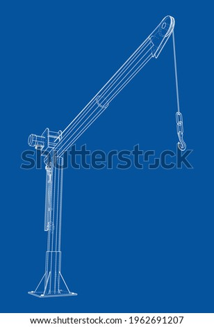 Davit or crane for boat. Vector rendering of 3d. Wire-frame style