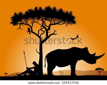 dawn in africa savannah in the