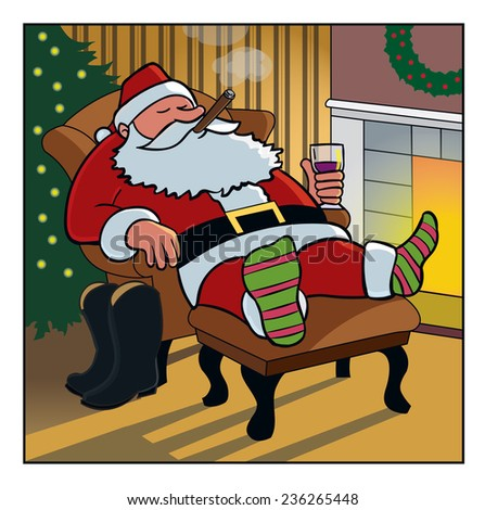 Day After Christmas / Santa relaxes after his long journey.