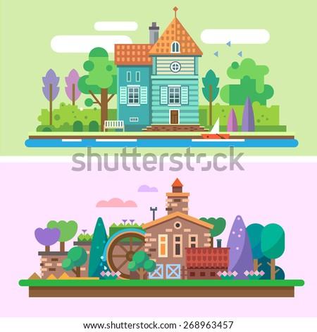 day and evening summer garden