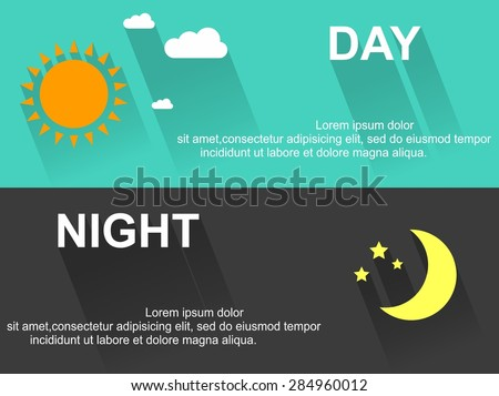 day and night banners with sun
