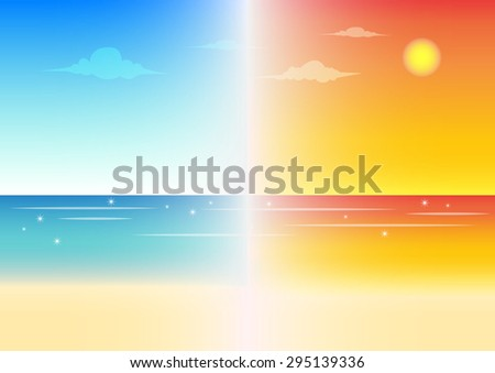 day and night beach vector