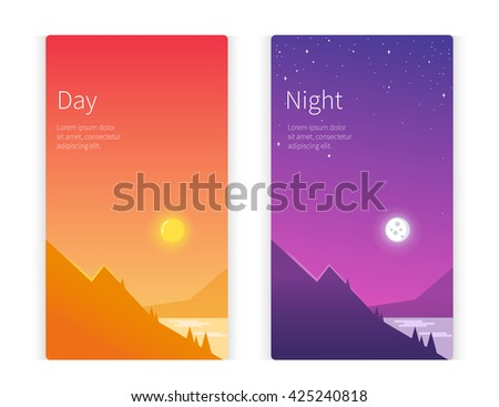 day and night concept banner