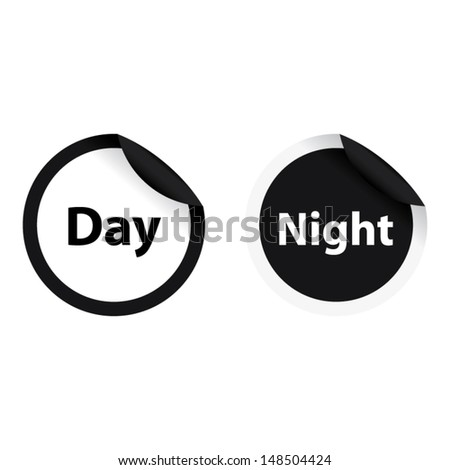 Day and night conceptual on black and white circle. Vector illustration