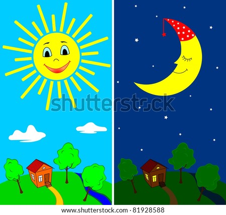 Day and night. Countryside view in the daytime and nighttime with the sun and the moon in cartoon style