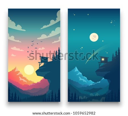 day and night flat vector