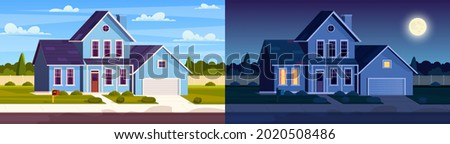 Day and night house. Street in suburb district with residential house. cartoon landscape with suburban cottage. City neighborhood with real estate property. Vector illustration in a flat style Foto d'archivio ©