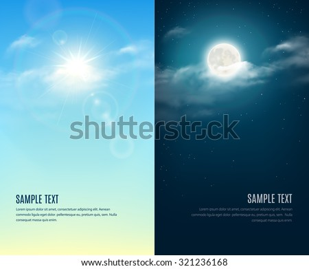 day and night illustration sky