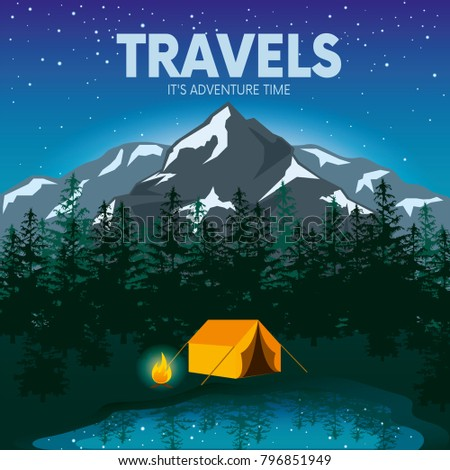 Day and night in a camping in the mountains or forest with a tent and a fire. Internet banner or design for a postcard, flyer or poster. Vector illustration.