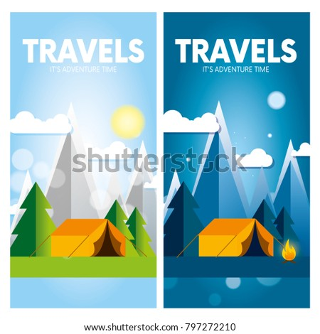 Day and night in a camping in the mountains or forest with a tent and a fire. Vertical internet banners or design for a postcard, flyer or poster. Vector illustration.