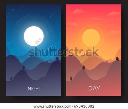 day and night landscape desert