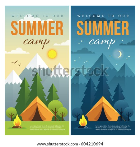 Day and night landscape illustrations with mountains, trees, tent and campfire in flat style. Vertical web banner for summer camp, nature tourism, camping, hiking, trekking, etc.