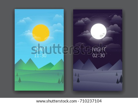 day and night lanscape