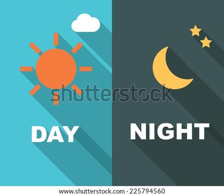 day and night long shadow flat, vector symbols