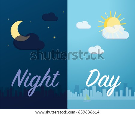 Day and night mode cityscape background and the component vector format